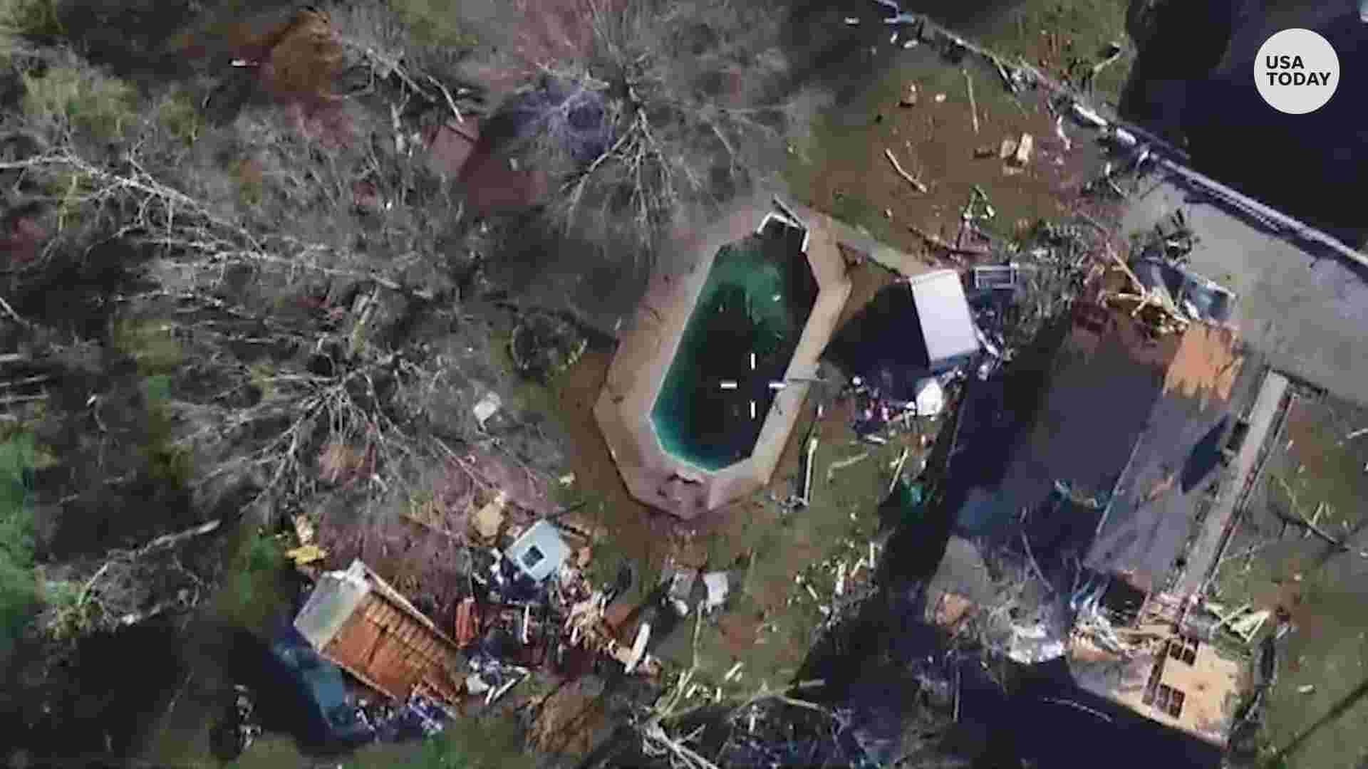 Önce ve sonra hava fotoğrafları gösterisi ölümcül Alabama kasırgalarının imhası